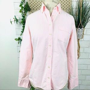 J crew oxford pink striped button down shirt  S.